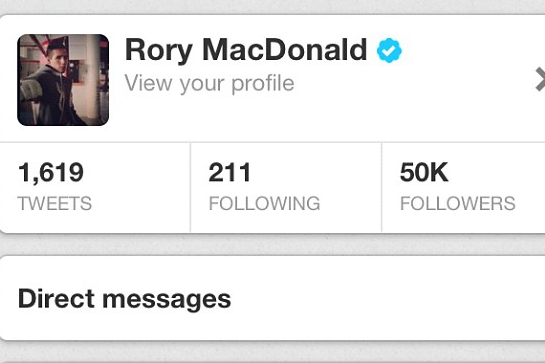 Rory Shows off Twitter Account on Instagram