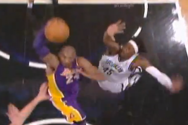 Lakers' Kobe Bryant Dunks on Nets' Kris Humphries and Gerald Wallace
