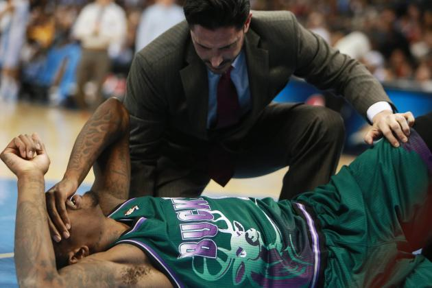 Bucks' Larry Sanders Takes Huge Spill