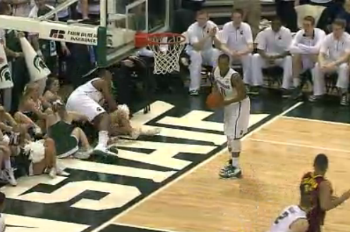 Derrick Nix Flattens Michigan State Cheerleader