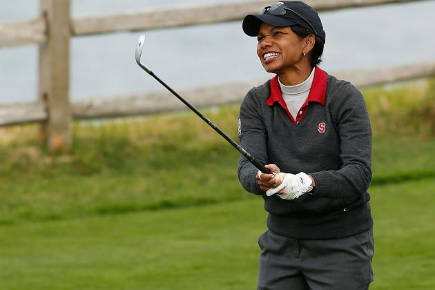 Condoleezza Rice Drops 'Roll Tide' at Pebble Beach, Golf Shot Hits Fan in Head