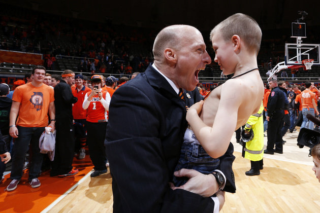 John Groce and His Shirtless Son Conner