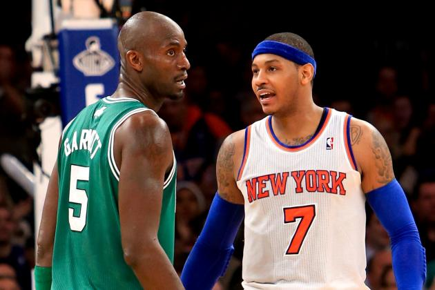 Carmelo Anthony Stalked by Kevin Garnett Fan at Knicks-Wolves Game