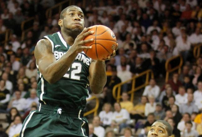 Branden Dawson is making his presence felt at Mackey Arena. MSU leads 50-36 with just under 12 minutes to play.