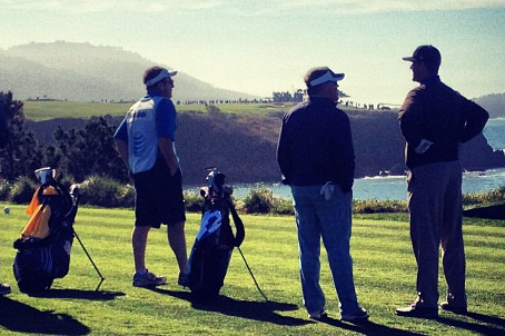 Jim Harbaugh and Brian Kelly Chatting at AT&T Pro-Am at Pebble Beach