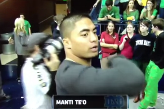 Manti Te'o Attends the Notre Dame-Louisville Basketball Game