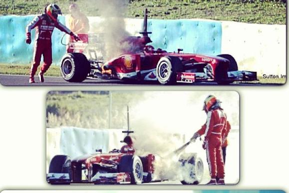 Instagram: De La Rosa Struggles with Ferrari Fire