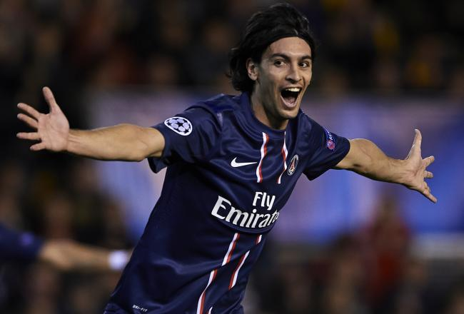 Pastore celebrates his goal, PSG's second on the night