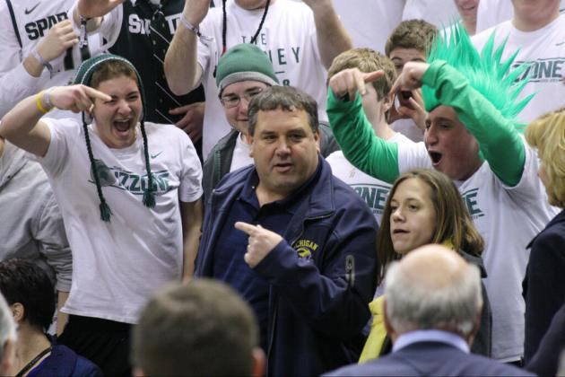 PHOTO: Brady Hoke Watches Michigan Hoops at Michigan State