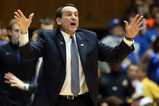 Coach K Stops Court Rush (Video)