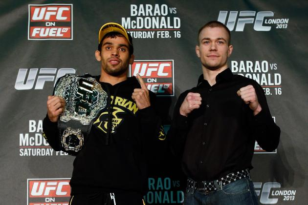 UFC on Fuel 7 Weigh-in Results for Barao vs McDonald Fight Card