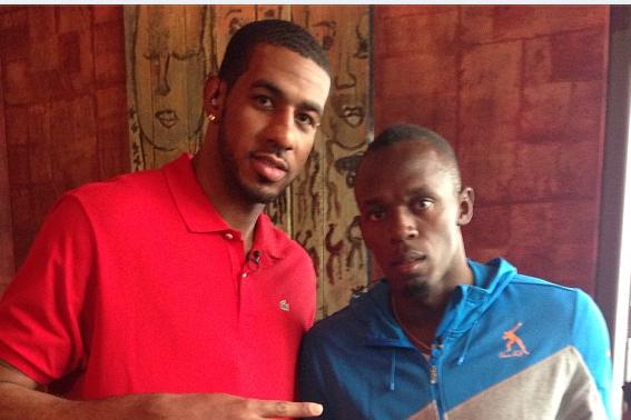 LaMarcus Aldridge and Usain Bolt at All-Star Weekend