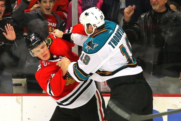 Watch: Blackhawks and Sharks Stars Drop Gloves