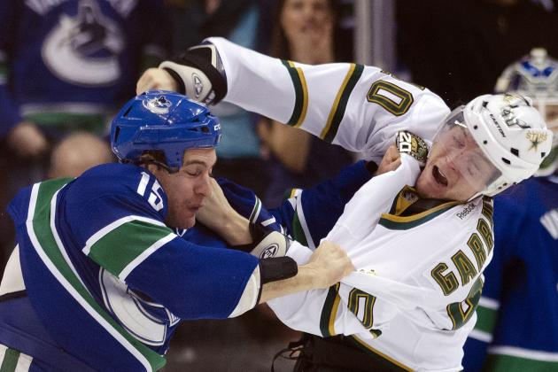 Three Fights in Three Seconds Between the Canucks and Stars