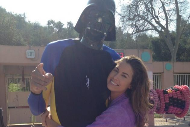 Kareem Abdul-Jabbar Wears Darth Vader Mask and Hugs Katherine Webb