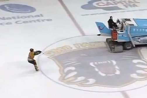 Zamboni Waterskiing? Former NHLer David Ling Pretends to Ice-Ski