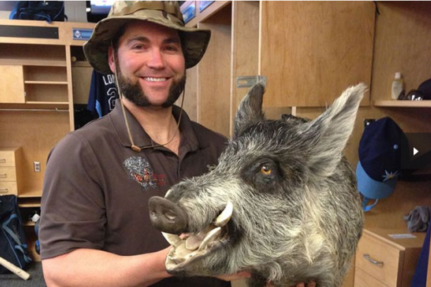 Luke Scott Brought a Stuffed Wild Boar Head to Rays Camp