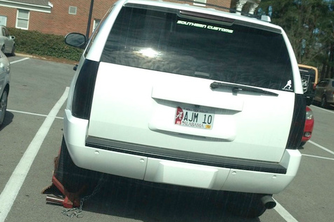 It's a Long Offseason: Here's A.J. McCarron's Car with a Boot on It
