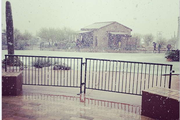 Keegan Bradley Instagrams His View of Snowy Golf Course
