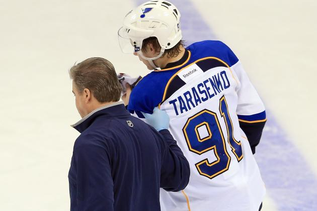 St. Louis' Vladimir Tarasenko Gets Crushed by Mark Olver