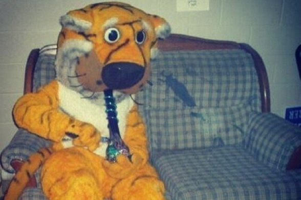 Missouri Mascot Truman the Tiger Hitting a Bong