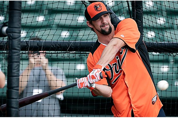 Michael Phelps Takes BP with Orioles