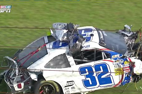 Kyle Larson's Car Goes Through the Security Fence and Torn in Half