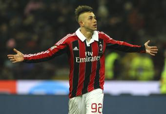 El Shaarawy celebrates his goal against Inter Milan.
