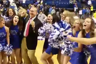 Dick Vitale and UK Dance Team Post-Win Dance Party