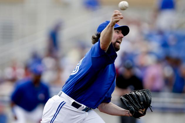 Dickey Yields Two Runs in Blue Jays Debut