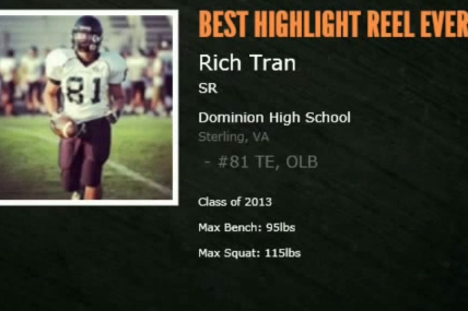 Dominion TE/LB Rich Tran Has the Best/worst Football Highlight Reel Around