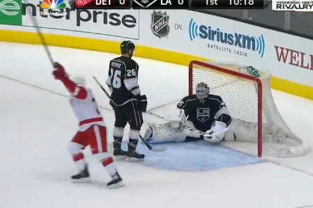 Red Wings Score on Fluke Goal Off Jonathan Bernier's Head (VIDEO)
