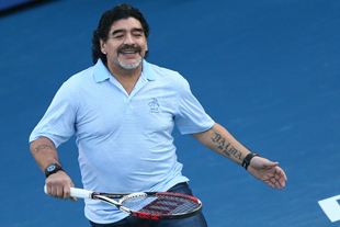Diego Maradona Absolutely Lights It Up on the Tennis Court