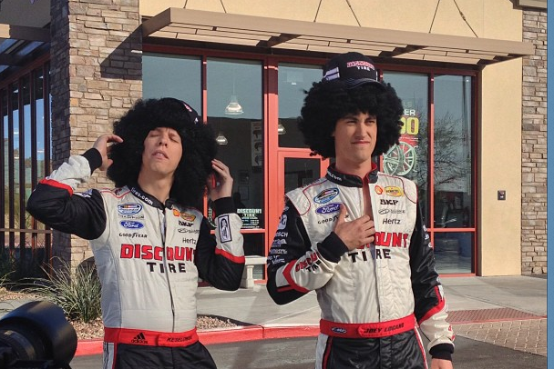 Brad Keselowski and Joey Logano Goof Around at Discount Tire Shoot