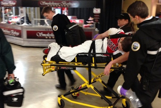 Drunk Blazers Fan Goes YOLO & Gets Stretchered During First Quarter