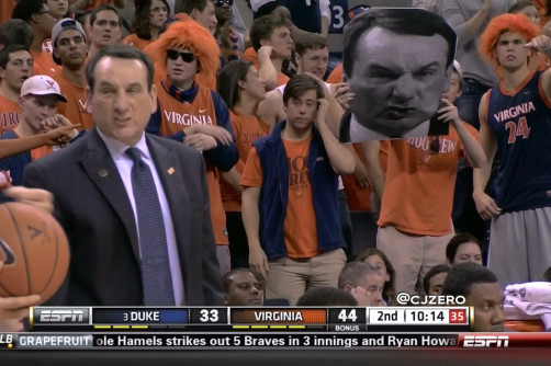 Mike Krzyzewski Makes 'Coach K Face' While UVA Student