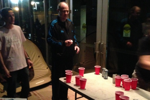 PHOTO: UCLA's Ben Howland Plays Beer Pong Against Students