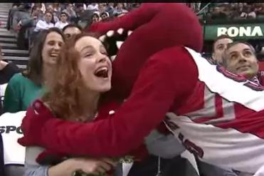 Toronto Raptors Mascot Flirts with Rachel McAdams