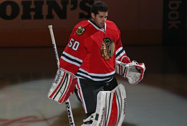 Corey Crawford was named the game's first star.
