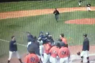 Pitcher Forgets He Is Playing Baseball, Tackles Runner Trying to Score