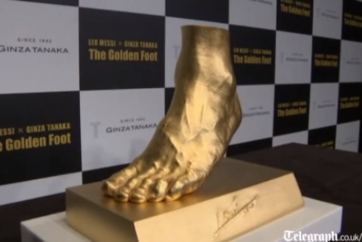 Barcelona Star Lionel Messi Honored with $5.25 Million Golden Cast of His Foot