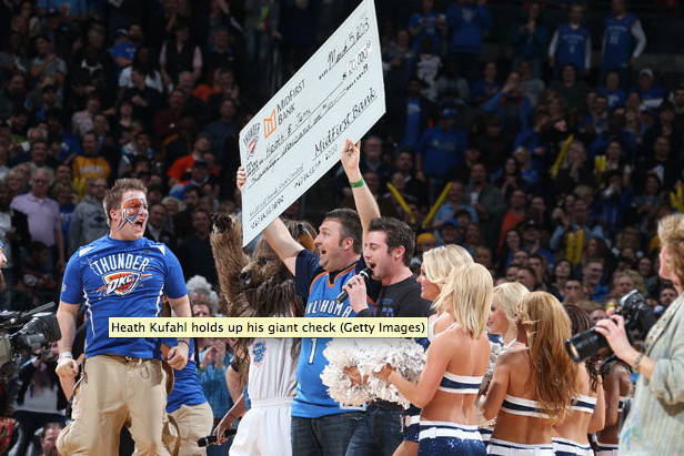 Thunder Fan Nails a Half-Court Shot, Winning $20K for His Wife's Cancer Fight