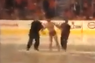 Fan Streaks on Ice at Calgary Flames Game