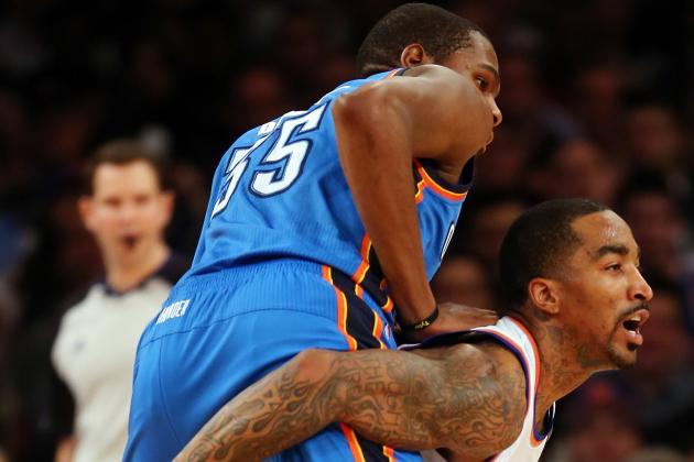 Durant Scores 34, Thunder Overcome Smith, Beat Knicks 95-94 as Anthony Sits