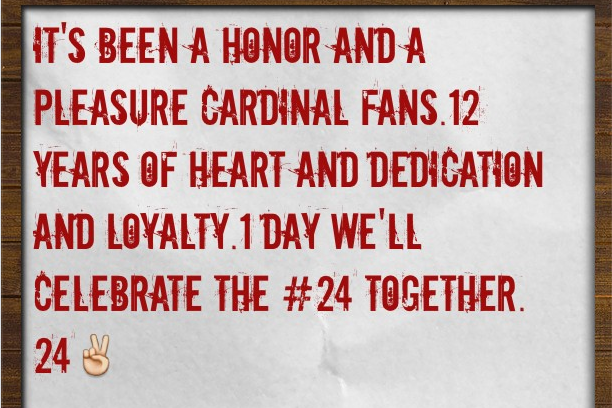 Wilson Instagrams Message to Cardinals Fans