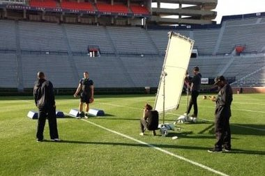 Cam Newton Filming Under Armour Commercial at Jordan-Hare Stadium