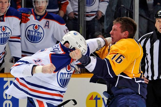 Video: Oilers' Brown Fights Predators' Clune