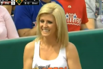 Whoops: Hooters Ballgirl Throws Live Ball into Stands