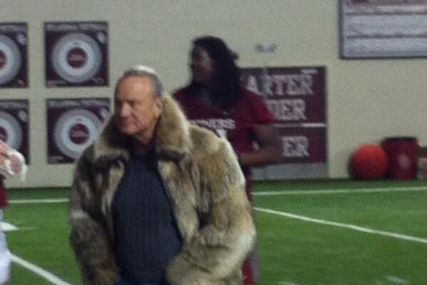 Barry Switzer: Fur Coat at Oklahoma Spring Practice (PHOTO)