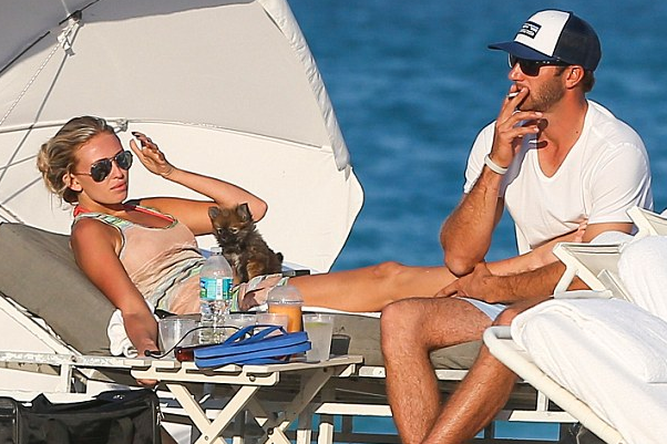 Dustin Johnson Smokes Cigarette on Beach with Paulina Gretzky